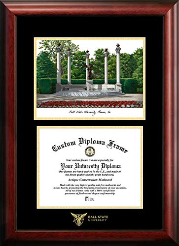Campus Images IN985LGED Ball State University Embossed Diploma Frame with Lithograph Print, 8