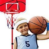 Children's Indoor & Outdoor Basketballs Liftable Iron Pole Basketball Stand Set, Portable Adjustable Basketball Hoop Stand For Youth Kids Junior Sport Game
