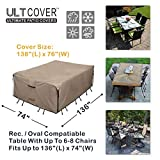 ULTCOVER Rectangular Patio Heavy Duty Table Cover - 600D Tough Canvas Waterproof Outdoor Dining Table and Chairs General Purpose Furniture Cover Size 136L x 74W x 28H inch