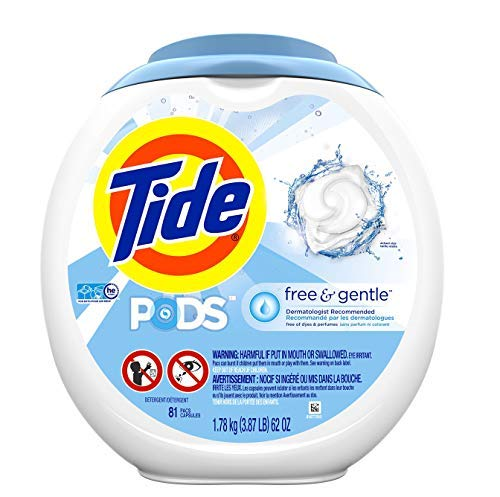 Tide Free and Gentle Laundry Detergent Pods, 81 Count, Unscented and Hypoallergenic for Sensitive Skin