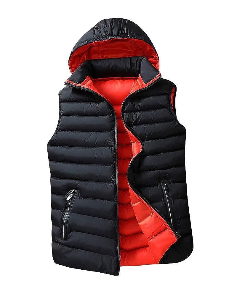 Uomo Autunno Inverno Casual Gilet con Cappuccio Removibile Caldo Slim Fit Imbottito Piumino Giubbino Senza Maniche Smanicato