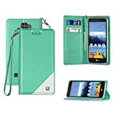 Infolio C Wallet Case For LG K8V VS500 PU Leather TPU 2 Tone Card Slot Magnetic Close Strap Mint White With Clear Gel