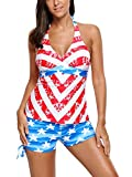 JomeDesign Womens Swimsuit Halter Neck Printed Tankini Top with Boyshorts Swimwear American Flag S