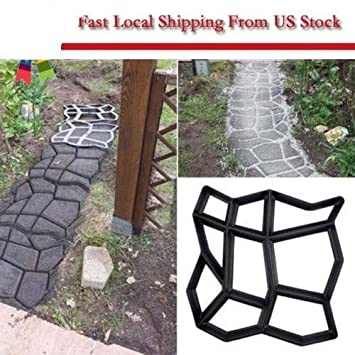 Yosoo DIY Driveway Pathmate Stone Mold Garden Walk Maker Outdoor Decorative  Paving Concrete Stepping Stone Mould