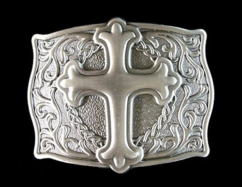 Pewter Belt Buckle Confederate Flag (Western Decor Engraved Raised Cross Pewter)