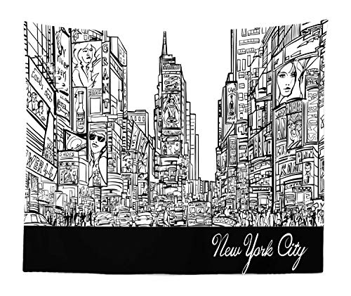 Lunarable New York Tapestry King Size, Times Square with Traffic Jam and Sketch Adverts Hand Drawn Urban City, Wall Hanging Bedspread Bed Cover Wall Decor, 104
