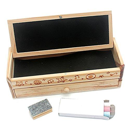 Danni Montessori Painting Toys double-deck木製鉛筆ボックスコンテナ+チョーク+黒板木製おもちゃ教育生徒