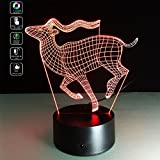 TRADE Cute Animal Long Horned Deer 7 Color Changing Touch Switch 3D Lamp Home Office Childrenroom Theme Decoration with Two Powered Supply Modes LED Nightlight