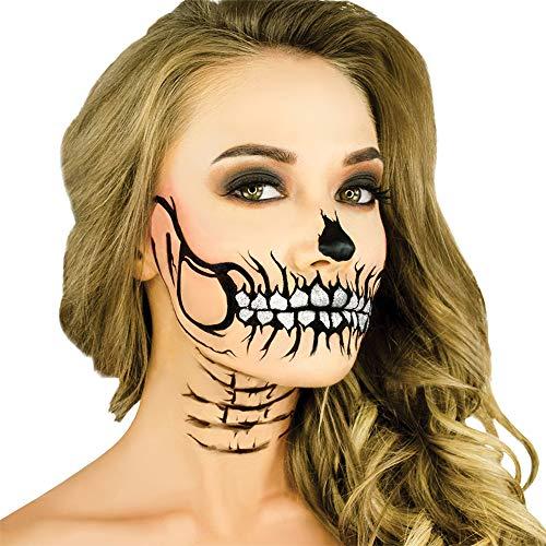Easy Half Skull Halloween Makeup (Woochie Stencil Kit - Professional Quality Halloween Costume Makeup - Glitter)