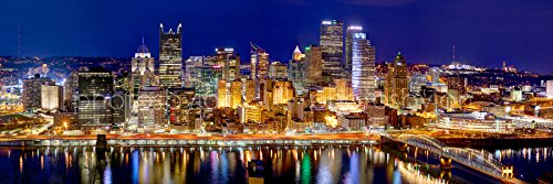 Pittsburgh Skyline 2017 PHOTO PRINT UNFRAMED NIGHT Downtown City COLOR 11.75 inches x 36 inches Photographic Panorama Poster Picture Standard Size