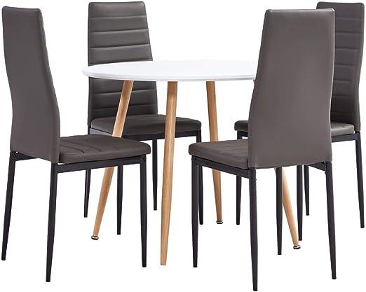 Goliraya Juego de Comedor 5 Piezas Cuero sintético Gris,Conjunto de Mesa y 4 sillas de Comedor | Alto Grado de Confort | Tablero de la Mesa Robusto: Amazon.es: Hogar