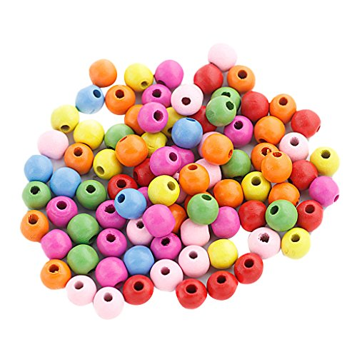 Flameer 100PCS 12MM Wooden Bead Assorted Colour Round Wood Crafting Beading Handwork