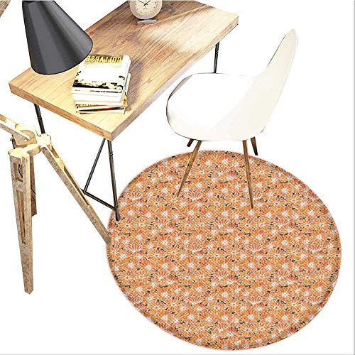 Apothecary Round Area carpet,Vibrant Calendula Florets Blossom Autumn Seasonal Flourishing Blossom Pattern Design Print,Living Room Bedroom StudyNon-Slip Round Carpet,3-Feet Diameter,Multicolor