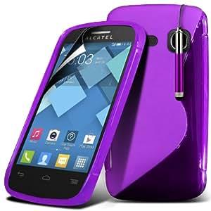 (Violeta) Alcatel One Touch C6 Protector Gel onda S Línea Cubierta Piel retráctil Capacative Pantalla Táctil Lápiz Óptico & 6 Pack Protector de pantalla LCD Protector Spyrox