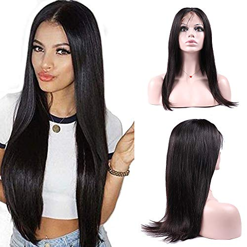 IUEENLY Brazilian Straight Lace Front Wigs Human Hair 13x4 Lace Front Wig For Black Women Pre Plucked with Baby Hair Natural Black 150% Density (18inch) from IUEENLY