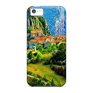 Iphone 5c Case Cover - Slim Fit Tpu Protector Shock Absorbent Case (village In High Mountains)