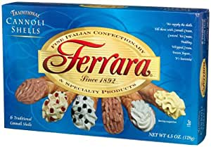 Ferrara Cannoli Shells, 6 Count, 4.5 Ounce Boxes (Pack of 12)