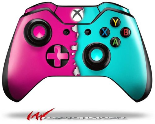 Ripped Colors Hot Pink Neon Teal - Decal Style Skin fits Microsoft XBOX One Wireless Controller (CONTROLLER NOT INCLUDED)