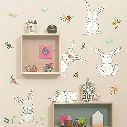 Pegatina pared conejitos para dormitorios bebes infantiles cuartos ...
