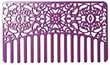 Go Comb - Wallet Size Wide Tooth Hair Comb and Pick for Women - Small Metal Travel Brush and Purse Comb - Orchid Lace