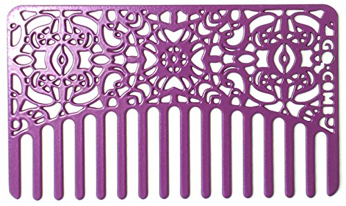 Go Comb - Wallet Size Wide Tooth Hair Comb and Pick for Women - Small Metal Travel Brush and Purse Comb - Orchid Lace by go-comb