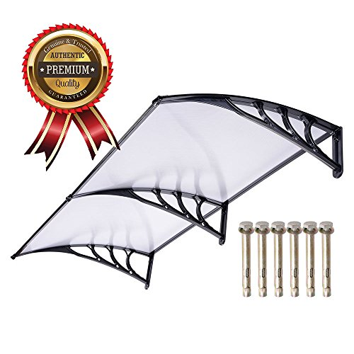 UV Protection Overhead Clear Outdoor Patio Awnings, Window Awnings - GC Global Direct (6.5FT, Black)