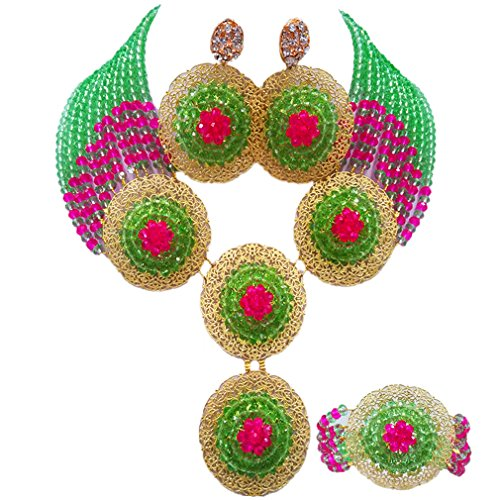 aczuv African Beads Jewelry Set 2017 Nigerian Wedding Necklace and Earrings for Women (Light Green Hot Pink)