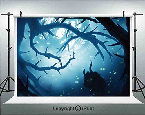 Mystic House Decor Photography Backdrops Animal with Burning Eyes in Dark Forest at Night Horror Halloween Illustration,Birthday Party Background Customized Microfiber Photo Studio Props,8x8ft,Navy Wh -