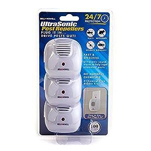 3 Pack Bell + Howell Ultrasonic Pest Repellers With Dusk-To-Dawn Sensor Light