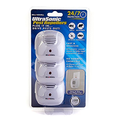 3 Pack Bell + Howell Ultrasonic Pest Repellers With Dusk-To-Dawn Sensor Light