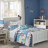 Mi Zone Kids Choo Choo Charlie Full Kids Bedding Sets for Boys - Blue, Parchwork Trains, Plane, Plaid – 8 Pieces Boy Comforter Set – Ultra Soft Microfiber Kid Childrens Bedroom Comforters