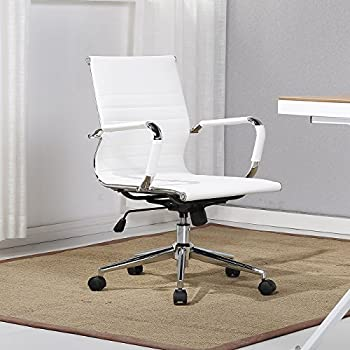 Amazon Com Belleze Mid Back Ribbed Upholstered Leather