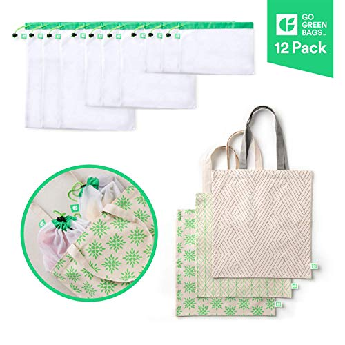 GoGreenBags 12 Pack Reusable Bags: Natural Cotton Tote Bag | Washable Mesh Bags | 4 Styles | 4 Sizes | 12 Bag Bundle | Grocery Tote Bags | Shopping Totes | Produce Bags | Toy Bags