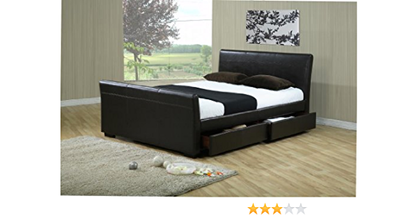 152,4 cm de cuero marco de la cama KINGSIZE cajones de almacenamiento