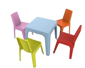 Resol Set Julieta - 1 Mesa Azul y 4 sillas roja, Rosa, Naranja, Lima: Amazon.es: Hogar
