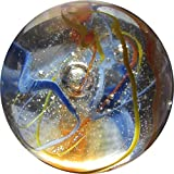 """Unique & Custom {2"""" Inch} One Single Huge """"Round"""" Clear Marble Made of Glass for Filling Vases, Games & Decor w/ Cool Shiny 3D Inner Swirls Wire Pull Design [Clear, Blue, Yellow & Orange Colors]"""