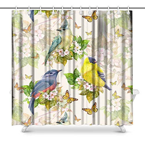 InterestPrint Vintage Birds on Apple Blossom with Butterfly House Decor Shower Curtain for Bathroom, Decorative Bathroom Shower Curtain Set with Rings, 72(Wide) x 72(Height) Inches