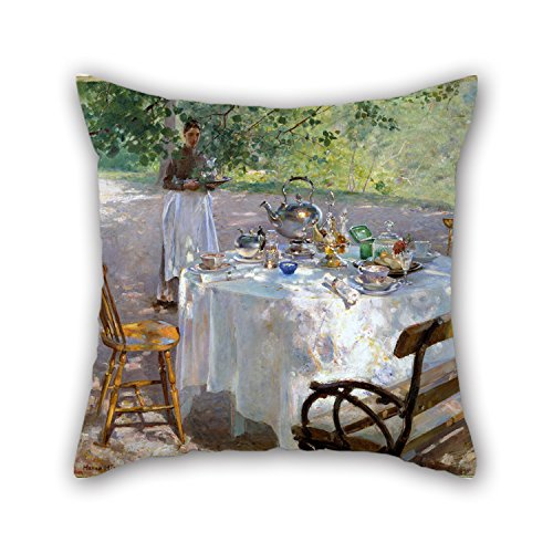 The Oil Painting Hanna Pauli - Breakfast-Time Pillow Shams Of ,16 X 16 Inches / 40 By 40 Cm Decoration,gift For Outdoor,kids Room,car,drawing Room,bedding,son (twin (Breakfast Sham)
