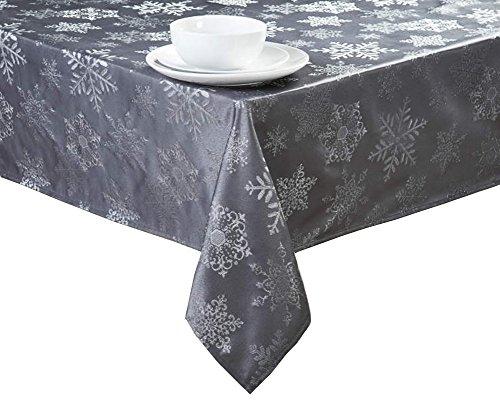 hristmas Grey Metallic Snowflakes Fabric Tablecloth (60 Round) ()