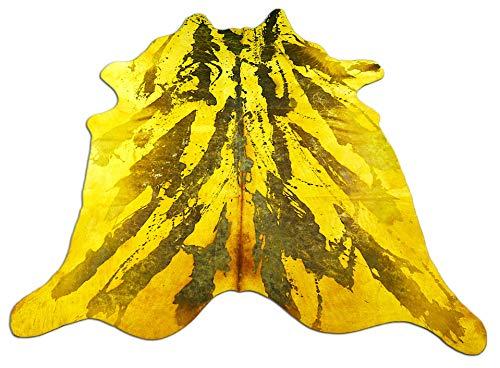 Dyed Yellow Cowhide Rug Size: 8' X 7.5'Huge Brown Acid Washed Cowhide Rug C-191 ()