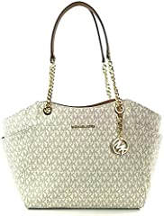 This stylish Jet Set Travel Saffiano Large Chain Shoulder Tote from Michael Kors is roomy and spacious. You'll have room for all your essentials and then some while making a real statement.