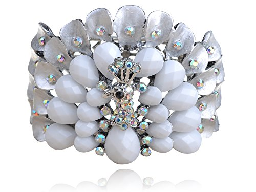 (Alilang Antique Silvery Tone White Rainbow Crystal Rhinestones Peacock Bird Cuff Bracelet)