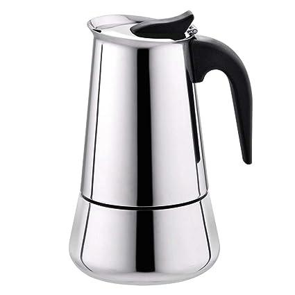 TiTCool Coffee Pot, Stainless Steel Wide Bottom Home Office Coffee Maker Moka Espresso Maker Percolator Stove (100ml)