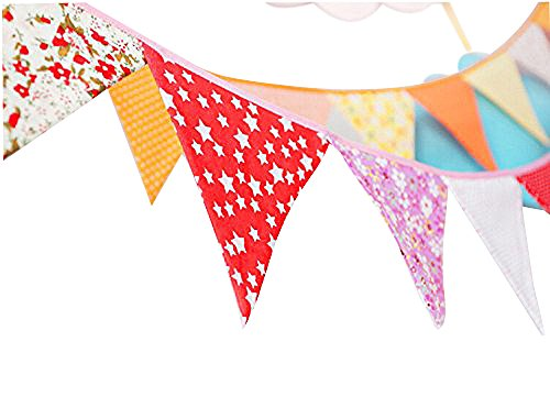 Ellen Tool Fabric Bunting Banners(Set of 12)-100% Durable Cotton-Small Size Kids Flag -Multi-Colorful Flags for Parties, Holidays, Birthdays-Great Celebration & Decoration for Indoor or Outdoor-Red