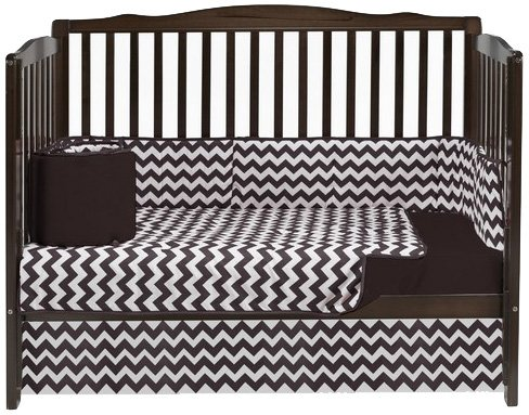 Baby Doll Bedding Chevron 4 Piece Crib Bedding Set, Brown by BabyDoll Bedding   B00LIVJ3FS