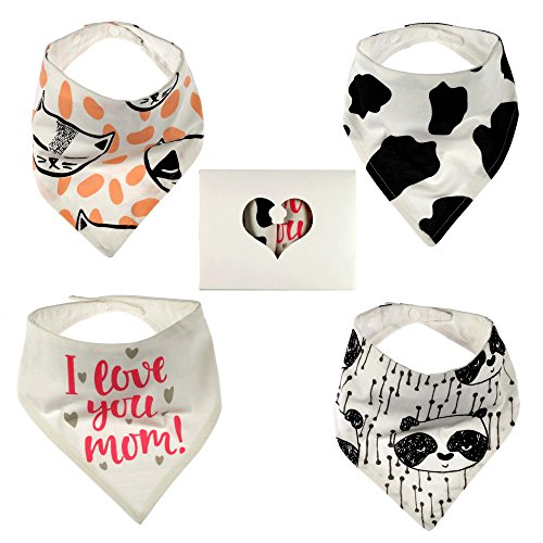 Organic Baby Bandana Bib by MD Baby Clothes | Unisex Highly Absorbent and Hypoallergenic Drool Scarf (4-Pack) + Digital Guide on Kids' Healthy Nutrition