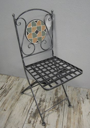 Eisenstuhl Mosaikstuhl Klappstuhl Stuhl *Florenz* Metall schwarz-grau - H91cm