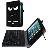 Fintie Folio Keyboard Case for All-New Amazon Fire 7 (7th Generation, 2017 Release), Slim Fit PU Leather Stand Cover with All-ABS Hard Material Removable Wireless Bluetooth Keyboard, Don't Touch