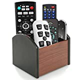 Rotating Remote Control Holder Caddy, Coideal Revolving Wooden 4 Compartment Desktop Office Supplies Storage Organizer/Spinning Pen Pencil Stationery Holder Container Box for Desk Home