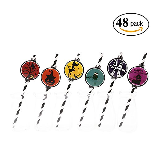 Happy Halloween Party Paper Straws Black Striped Decorative Straws Set of (Halloween Inspired Cupcakes)
